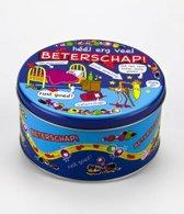 Snoeptrommel Beterschap gevuld met verse dropmix in cadeauverpakking met gekleurd lint