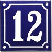 Emaille huisnummer blauw/wit nr. 12