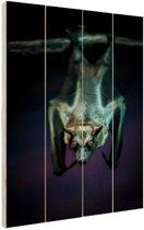 Close-up vleermuis Hout 40x60 cm - Foto print op Hout (Wanddecoratie)