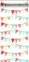 HD vliesbehang vlaggenlijn kleurrijk - 138717 van ESTAhome nl
