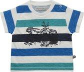 Minymo - jongens t-shirt - streep - wit groen blauw - Maat 140
