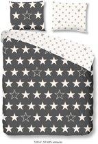 Good Morning 5263-F met sterren - dekbedovertrek - lits jumeaux - 240x200/220 cm  - katoen flanel - antraciet