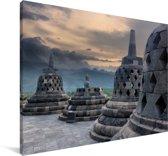 Donkere wolken boven de Borobudur tempel Canvas 180x120 cm - Foto print op Canvas schilderij (Wanddecoratie woonkamer / slaapkamer) XXL / Groot formaat!