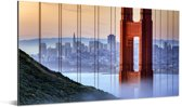 Golden Gate Bridge en San Francisco op de achtergrond Aluminium 40x20 cm - Foto print op Aluminium (metaal wanddecoratie)