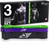 Pull up band weerstandsbanden fitness set van 3 - Weerstandsband elastiek heavy medium and light  - Resistance bands power workout gear crossfit gewichtheffen - inclusief 2 jaar garantie