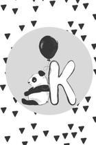 K: Initial K Monogram Notebook Journal Gift Cute Panda character design