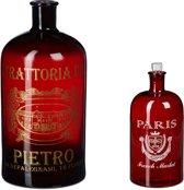 relaxdays - decoratieve fles bedrukt rood - vaas - bloemenvaas - decoratiefles
