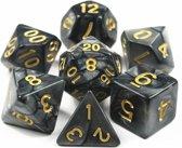 Polydice set – Dobbelstenen voor Dungeons & Dragons – 7 delig Marmer Zwart Goud – Polyhedral dice set - Dobbelsteen