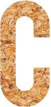 Kleefletter - plakletter - prikbord - kurk - vegan - letter C - 28 cm hoog