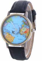 Fako Bijoux® - Horloge - Mini World - Zwart