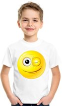 Smiley/ emoticon t-shirt knipoog wit kinderen M (134-140)
