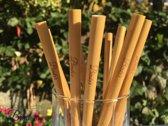 Bindy's - Herbruikbare bamboe rietjes - Set van 12 bamboe drinkrietjes incl. 2 schoonmaak borsteltjes - 20 cm lang - 100% bamboe - Ook voor Smoothies en Cocktails - Sterk en Duurzaam - Biologisch afbreekbaar - Milieu vriendelijke rietjes