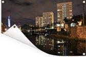 Weerspiegeling van de torens in het water in Birmingham Tuinposter 180x120 cm - Tuindoek / Buitencanvas / Schilderijen voor buiten (tuin decoratie) XXL / Groot formaat!