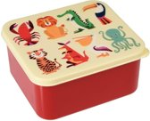 Rex London - Kleurige dieren - Vintage Broodtrommel - Rood / Wit - Vierkant - Ouderwets degelijk!