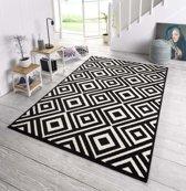 Design vloerkleed ruiten Art - zwart/wit 160x230 cm
