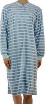 Lunatex badstof dames nachthemd Streep  - M  - Blauw
