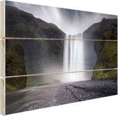 Waterval Hout 160x120 cm - Foto print op Hout (Wanddecoratie) XXL / Groot formaat!