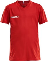 Craft Squad Jersey Solid SS Shirt Junior Sportshirt - Maat 122  - Unisex - rood/wit Maat 122/128