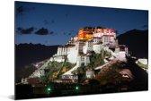 Het Potalapaleis verlicht in de avond in China Aluminium 90x60 cm - Foto print op Aluminium (metaal wanddecoratie)