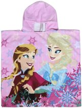 Roze Disney Frozen Elsa en Anna badcape met capuchon voor meisjes - Badcapes/zwembadcapes/strandponcho voor kinderen