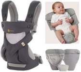 Ergobaby Geboortepakket: babydraagzak 360 Cool Air Carbon Grey incl. verkleinkussen Cool Air grey