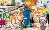 Fotobehang Graffiti | Oranje, Blauw | 416x254