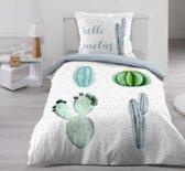 Cactus dekbedovertrek Hello Cactus - eenpersoons met 1 kussensloop - 100% katoen