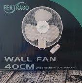 Muur/Wand ventilator Fertraso 40cm. Met afstandsbediening en timer.