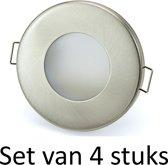 3W GU10 badkamer inbouwspot Zilver mat rond | Koel wit |Set van 4 stuks