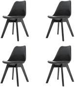 Madera stoel - Zwarte zitting - Zwart onderstel - Set van 4