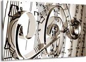 Schilderij   Canvas Schilderij Muziek   Sepia   140x90cm 1Luik   Foto print op Canvas