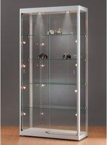Luxe vitrinekast hoog aluminium 100 cm met verstelbaar halogeen verlichting