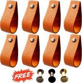 Leren Handgrepen - Cognac - 8 stuks - 17 x 2,6 cm | Per Handvat 3 Kleuren Schroeven