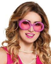 Roze disco bril voor volwassenen - Verkleedattribuut