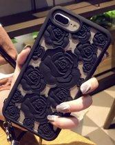 Bloemen Cover voor Apple iPhone 7 Plus - iPhone 8 Plus - 3D rozen - hoogwaardig zacht TPU hoesje - Zwart