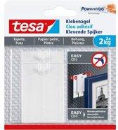 Tesa - 77776 - klevende spijker voor behang en pleister - tot 1kg - 20mm groot - Wit - 2 stuks