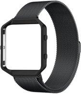 Milanees Horloge Band Voor Fitbit Blaze - Metalen Milanese Strap - Armband Strap RVS - Small/Large - Zwart