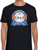 Zwart vrijgezellenfeest drinking team t-shirt heren met blauw en oranje -  Vrijgezellen team kleding mannen M