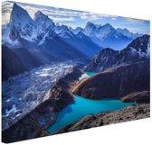 Himalaya landschap met water Canvas 120x80 cm - Foto print op Canvas schilderij (Wanddecoratie woonkamer / slaapkamer) / Natuur Canvas Schilderijen
