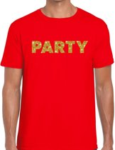 Party goud glitter tekst t-shirt rood voor heren - heren shirts S