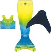 Luxe Zeemeerminstaart blauw/geel met monovin maat 9-11 jaar met bikini topje
