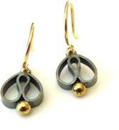 Oorhangers - vanNienke® Tulpjes! - zilverkleurig en goud combinatie - 13mm lang