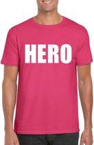 Hero tekst t-shirt roze heren M
