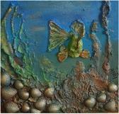 3D Schilderij Ruw Onderwater Tafereel met Vis en Schelpen