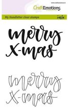CraftEmotions stempel A6 - handletter - Merry xmas Engels