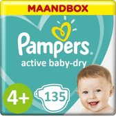 Pampers Active Baby Dry Maandbox Maat 4+ - 135st