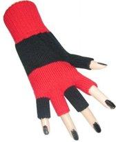 Vingerloze handschoen zwart - rood