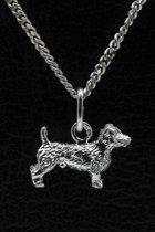 Zilveren Jack russel Terrier ruwhaar ketting hanger - klein