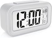 JAP Clocks AC18 digitale wekker - Alarmklok - Inclusief temperatuurmeter - Met snooze en verlichtingsfunctie - Wit