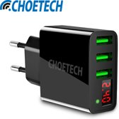 Choetech Adapter met LED display 3 laadpoorten - 3A - Zwart